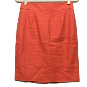 J CREW CLASSIC ORANGE PEACH LINEN PENCIL SKIRT